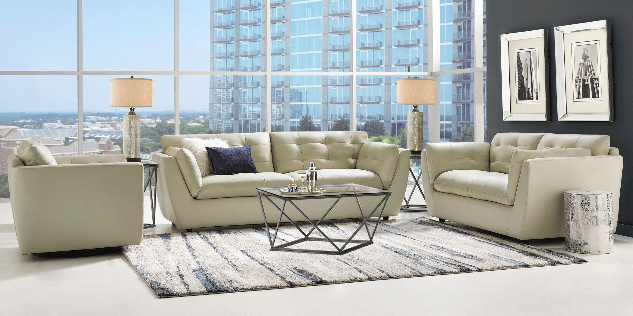 Aragon Platinum Leather 6 Pc Living Room