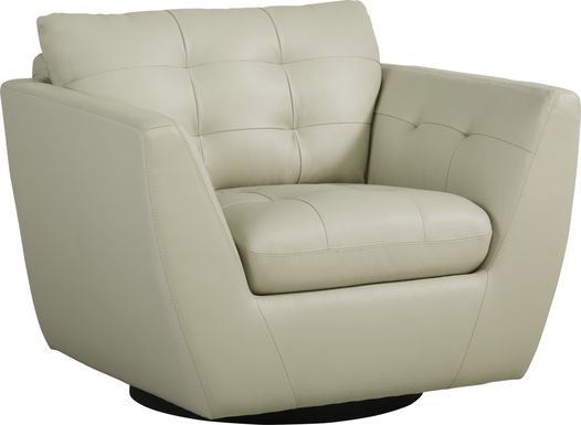 Aragon Platinum Leather Swivel Chair
