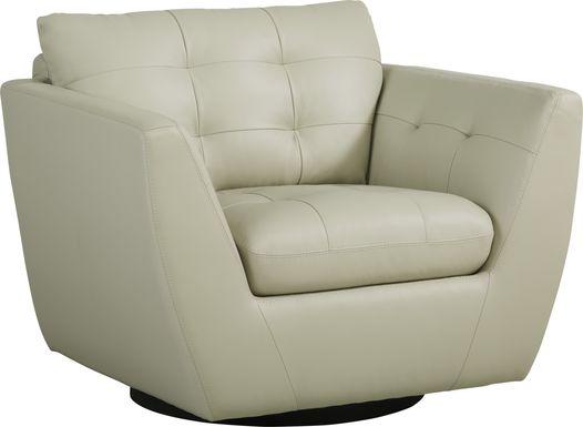 Aragon Platinum Leather Swivel Chair
