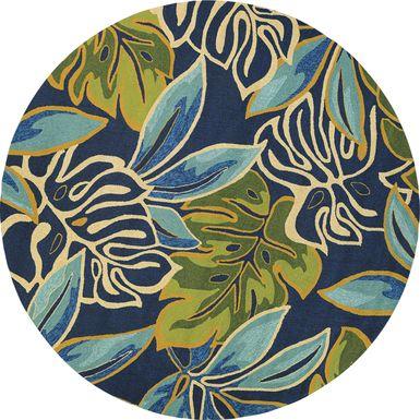 Areca Palms Blue 7'10 Round Indoor/Outdoor Rug