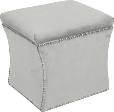 Arielle Square Gray Storage Ottoman
