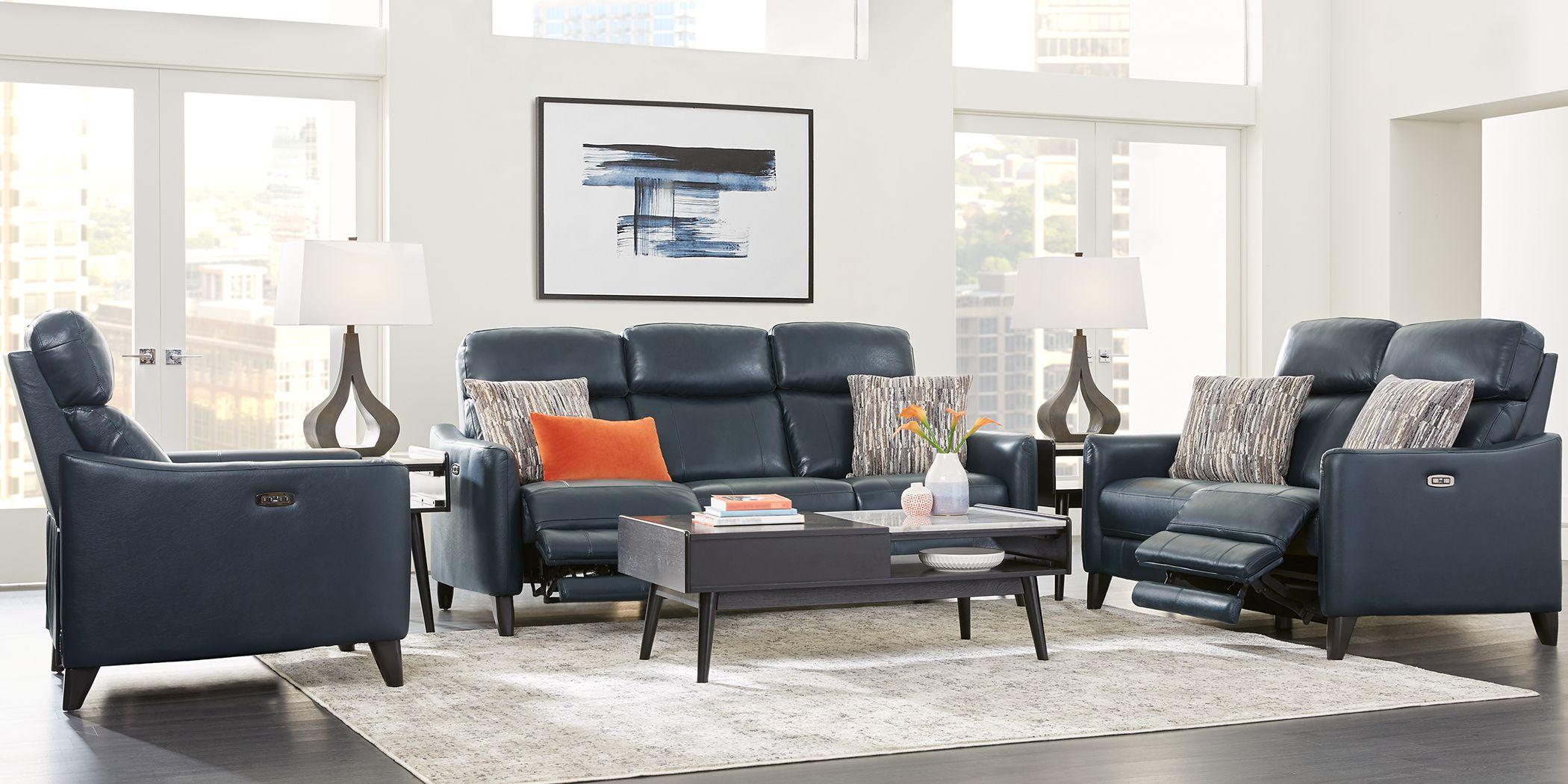 Arilio Navy Leather 3 Pc Dual Power Reclining Living Room