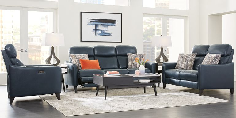 Arilio Navy Leather 5 Pc Living Room with Dual Power Reclining Sofa