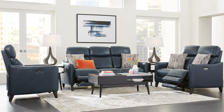 Arilio Navy Leather 7 Pc Dual Power Reclining Living Room