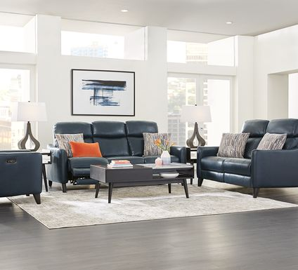 Arilio Navy Leather 7 Pc Living Room with Dual Power Reclining Sofa