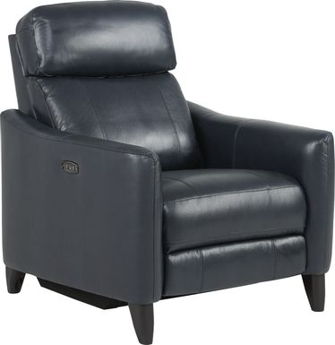 Arilio Navy Leather Dual Power Recliner