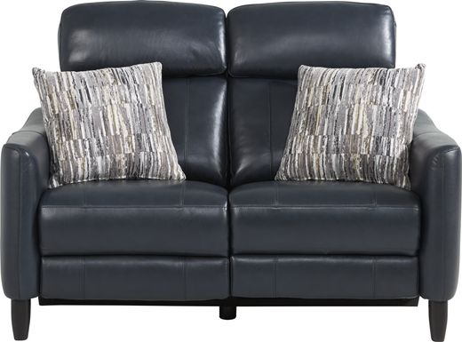Arilio Navy Leather Dual Power Reclining Loveseat