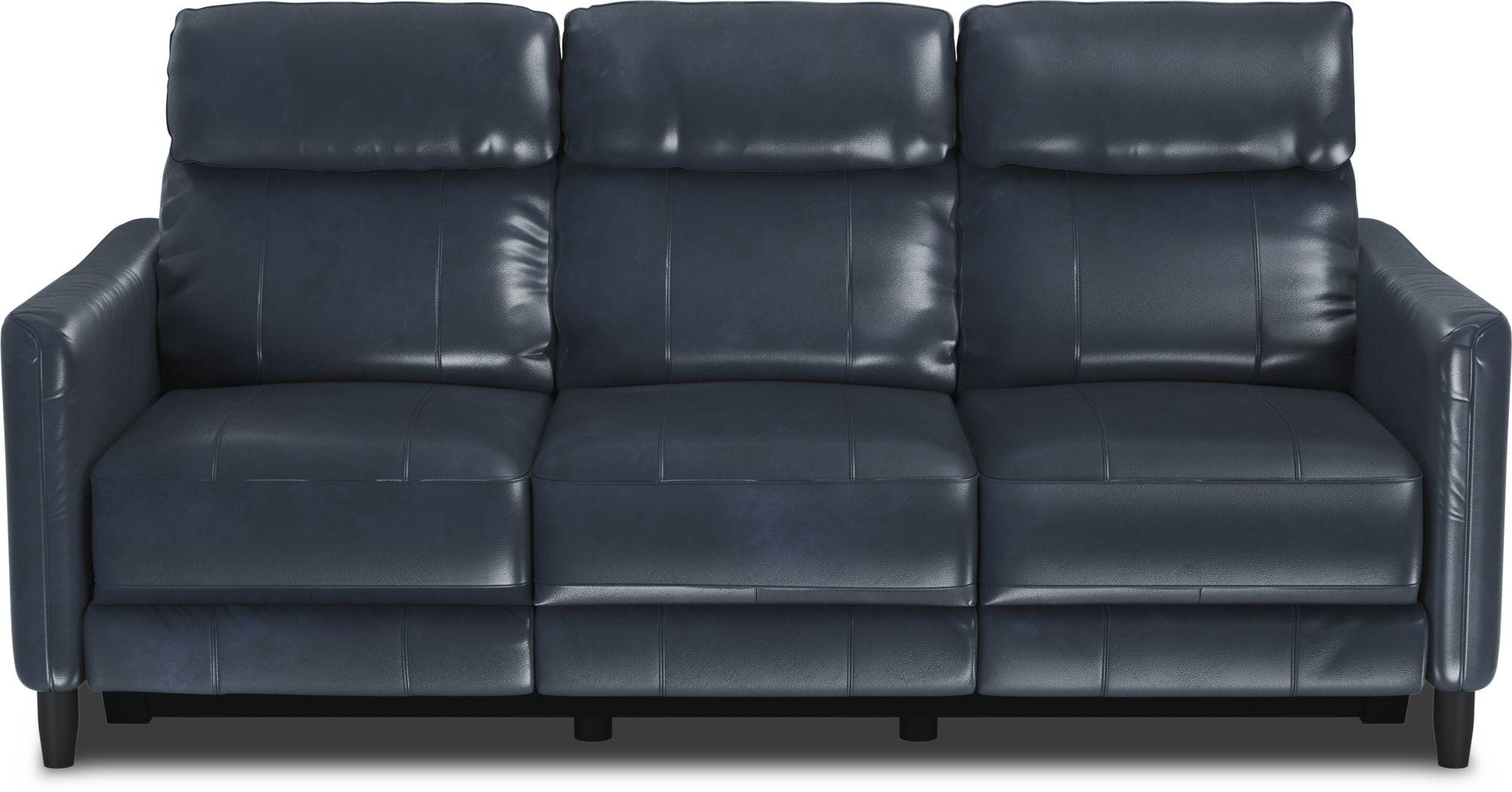 Arilio Navy Leather Dual Power Reclining Sofa