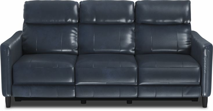 Arilio Navy Leather Dual Power Reclining Sofa