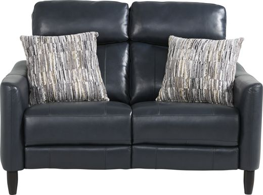 Arilio Navy Leather Loveseat
