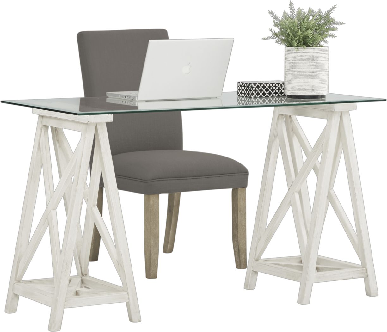 Arina White Desk and Tulip Gray Chair
