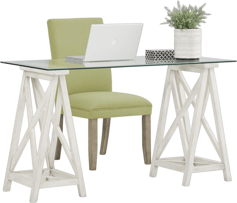Arina White Desk and Tulip Green Chair
