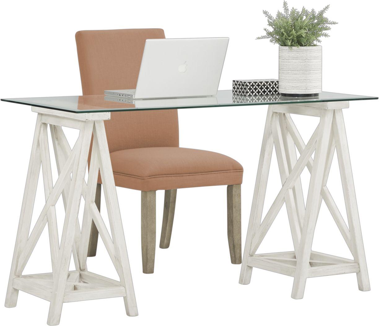 Arina White Desk and Tulip Orange Chair