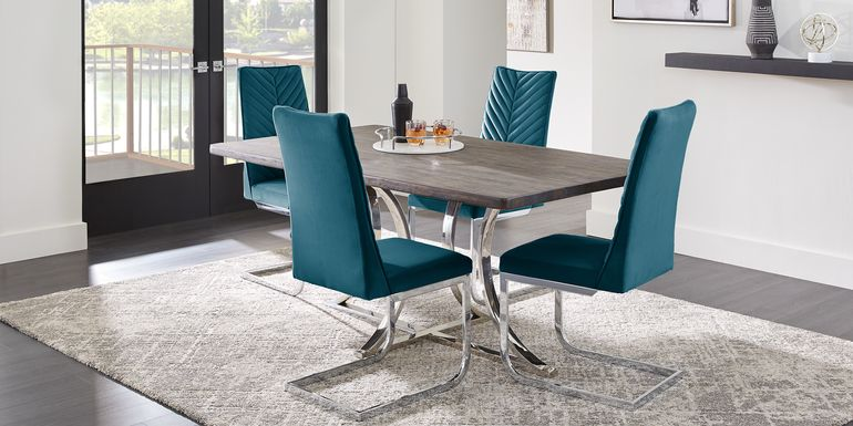 Arland Dark Brown 5 Pc Rectangle Dining Room with Blue Chairs