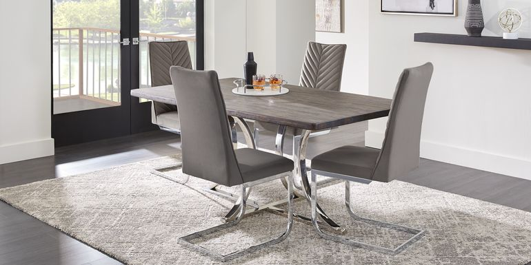 Arland Dark Brown 5 Pc Rectangle Dining Room with Charcoal Chairs