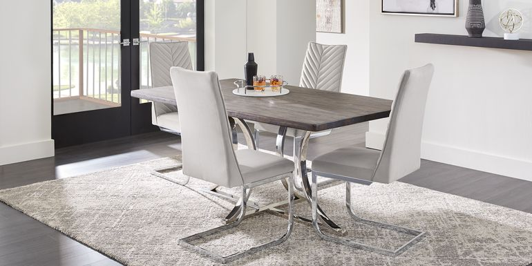 Arland Dark Brown 5 Pc Rectangle Dining Room with Gray Chairs