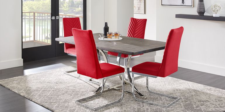 Arland Dark Brown 5 Pc Rectangle Dining Room with Red Chairs