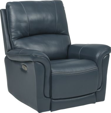 Armano Navy Triple Power Leather Recliner