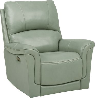 Armano Seafoam Triple Power Leather Recliner