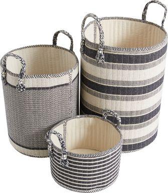 Arrowwood Black Baskets (Set of 3)