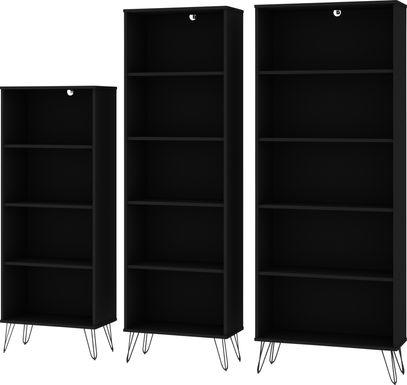 Arzano Black 3 Pc Bookcase