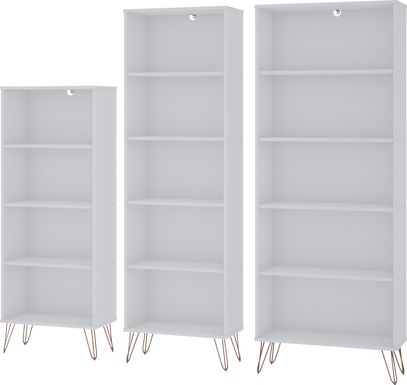 Arzano White 3 Pc Bookcase