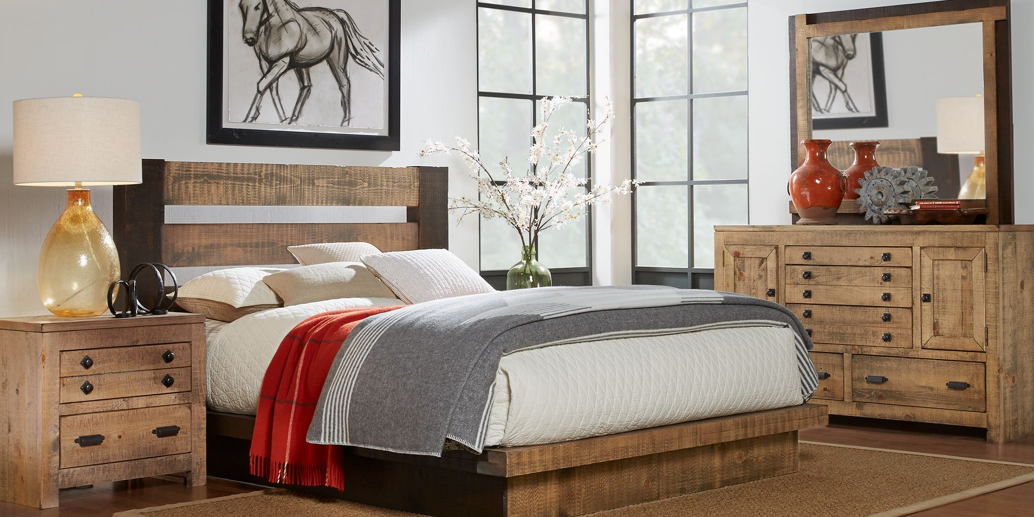 Asher Driftwood 7 Pc Queen Bedroom