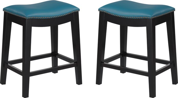 Aspasia Blue Counter Height Stool, Set of 2