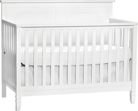 Atley White Convertible Crib with Toddler Rail