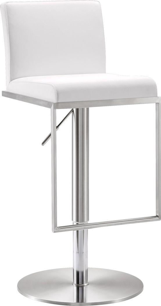 Atrani White Adjustable Swivel Barstool