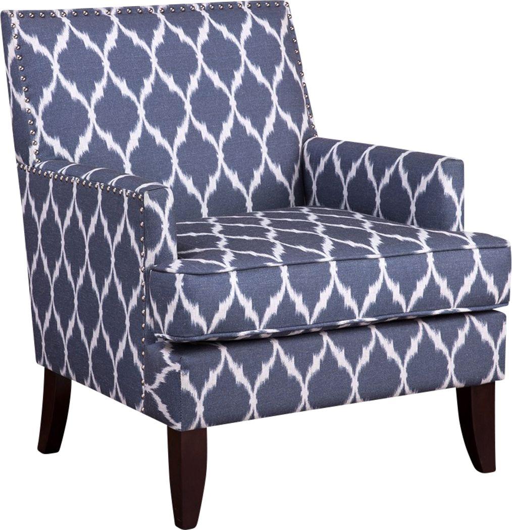 Aubinwood Blue Pattern Accent Chair