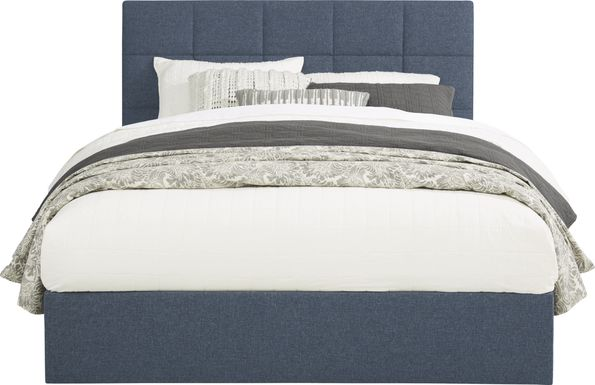 Aubrielle Blue 3 Pc Queen Square Upholstered Bed