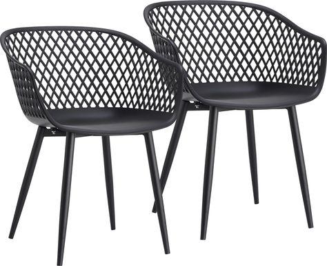 Auraria Black Outdoor Arm Chair, Set of 2