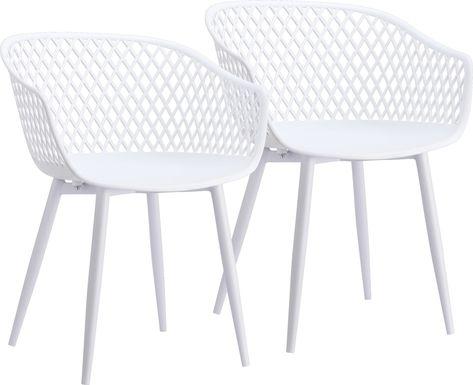 Auraria White Outdoor Arm Chair, Set of 2