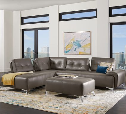 Avellino Gray Leather 2 Pc Sectional