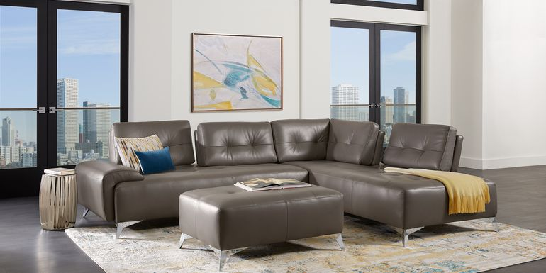 Avellino Gray Leather 5 Pc Sectional Living Room