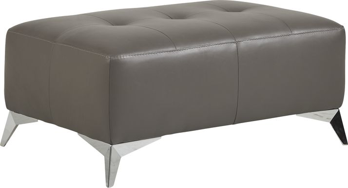 Avellino Gray Leather Cocktail Ottoman