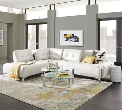 Avellino White Leather 2 Pc Sectional