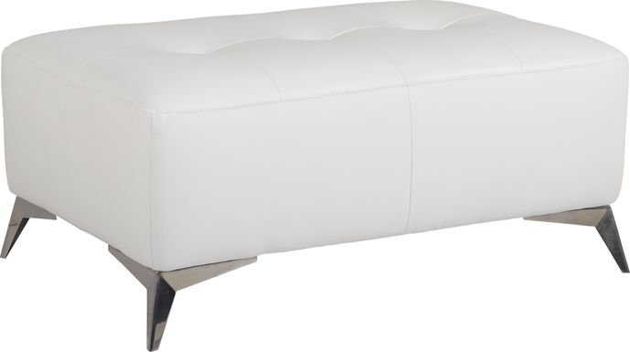 Avellino White Leather Cocktail Ottoman