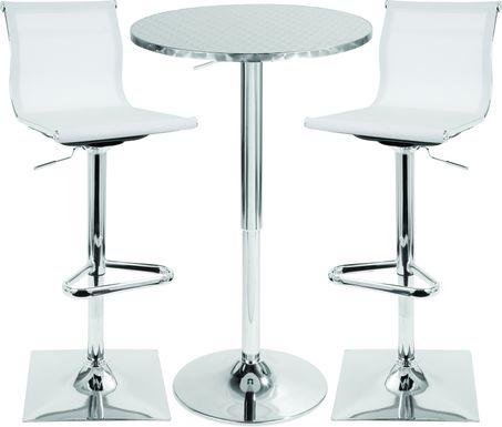 Avrum White 3 Pc Bar Height Dining Set