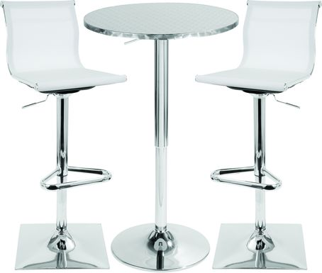 Avrum White 3 Pc Bar Height Dining Set