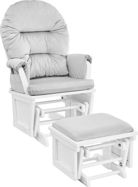 Baby Cache Faolan Light Gray-White Glider and Ottoman