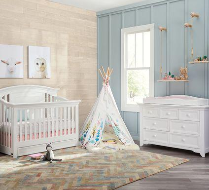 Baby Cache Harborbridge White 6 Pc Nursery with Toddler & Conversion Rails