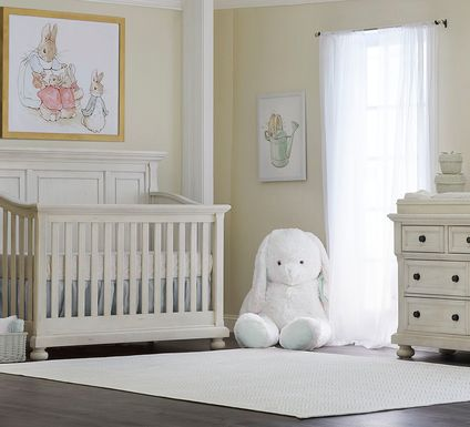 Baby Cache Prestcott Antique White 5 Pc Nursery with Toddler Rails