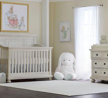 Baby Cache Prestcott Antique White 6 Pc Nursery with Toddler & Conversion Rails
