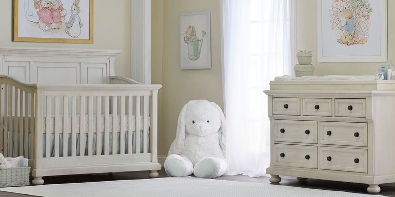 Baby Cache Prestcott Antique White 6 Pc Nursery with Toddler & Conversion Rails