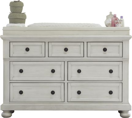 Baby Cache Prestcott Antique White Dresser with Changing Topper and Pad