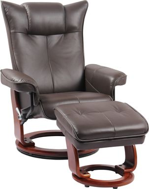 Bamell Brown Recliner and Ottoman