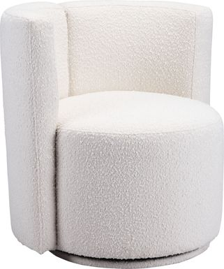 Baozy White Accent Chair