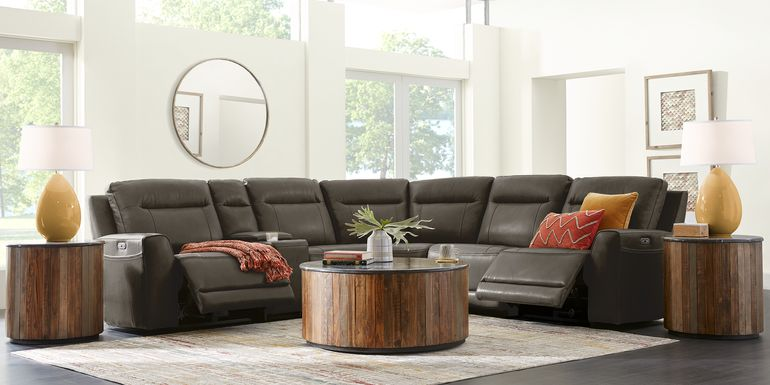 Bargotti Charcoal Leather 6 Pc Dual Power Reclining Sectional